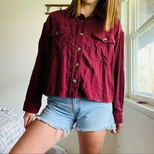 American Eagle // Red Cropped Flannel Button Up